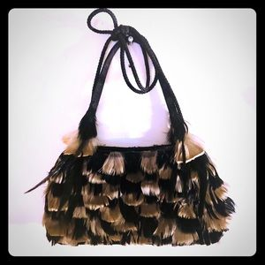 Feathered Black and Tan purse